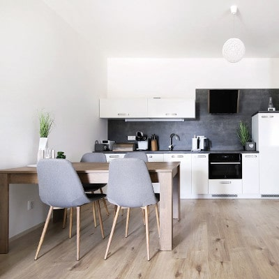 Obývací pokoj s kuchyňskou linkou apartmánu A24