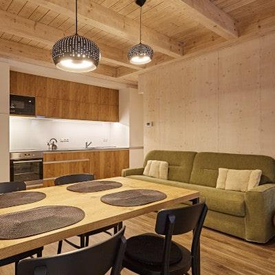 Obývací pokoj s kuchyňskou linkou apartmánu A25